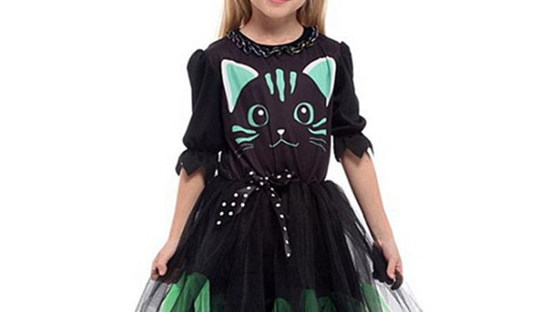 Girls Halloween Kitty Costume