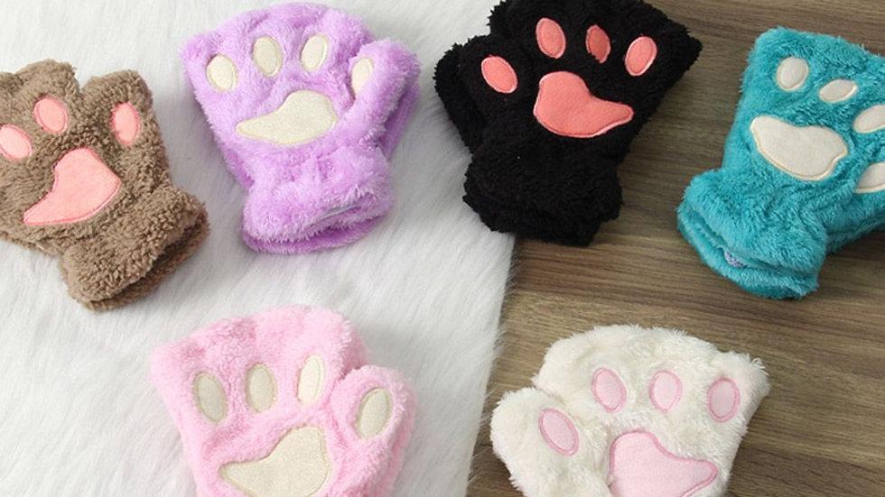Women's Paw Print Fingerless Gloves