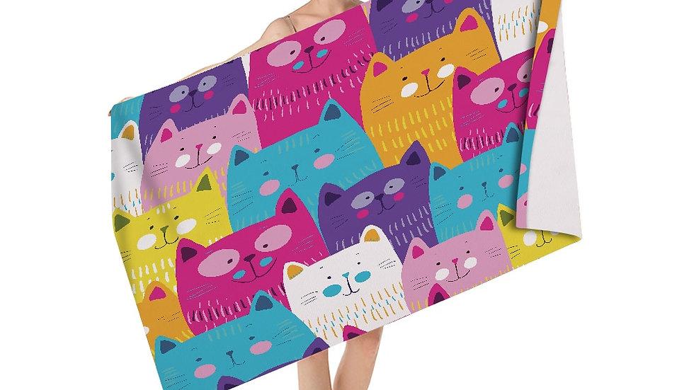 Colourful Kitty Bath Towel