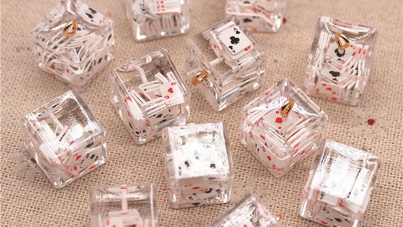 10pcs Transparent Poker Themed Cubes for DIY