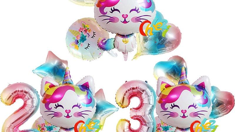 6pcs Rainbow Unicorn Cat Foil Balloon 32inch Party Decorations