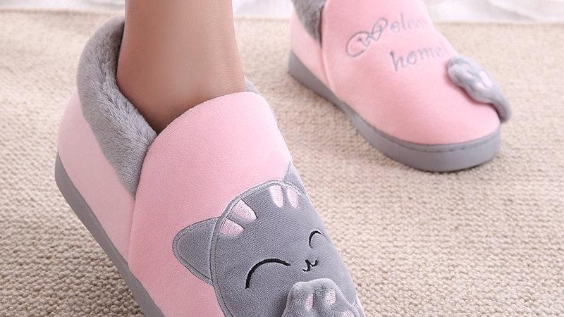 Kids Winter Cartoon Cat Slippers