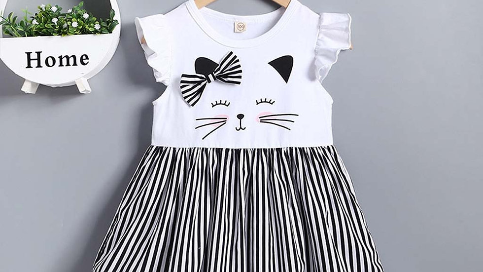 Baby Girl Sleeveless Cat Printed Dress