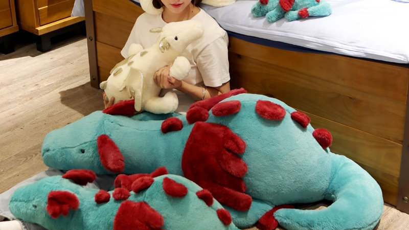 30-90cm Fluffy Blue and White Dragon Plushies