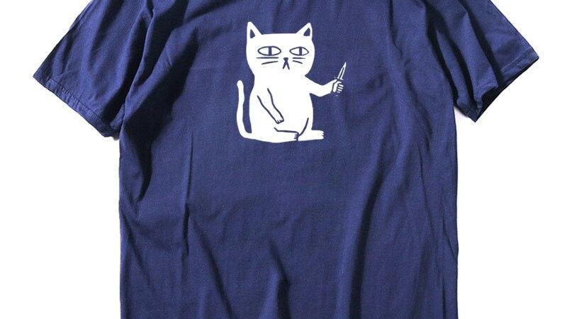Men's Short Sleeve Cat Print Tops