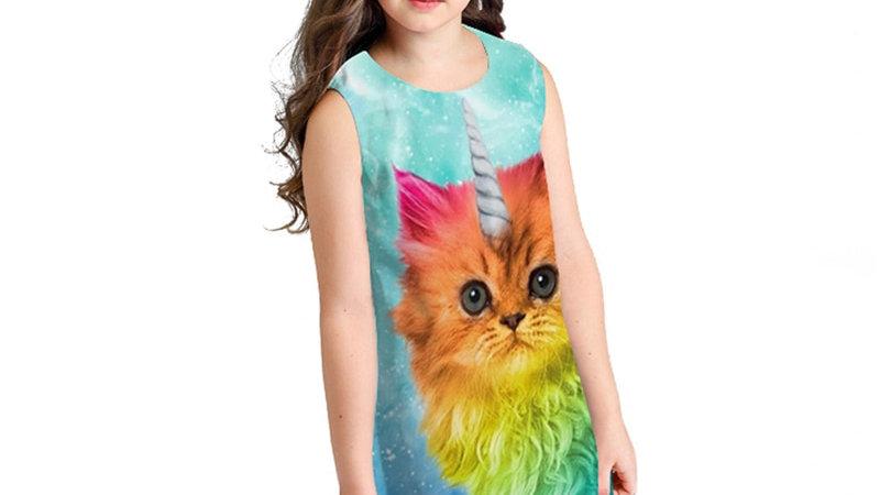 Colourful Kids Cat Dresses