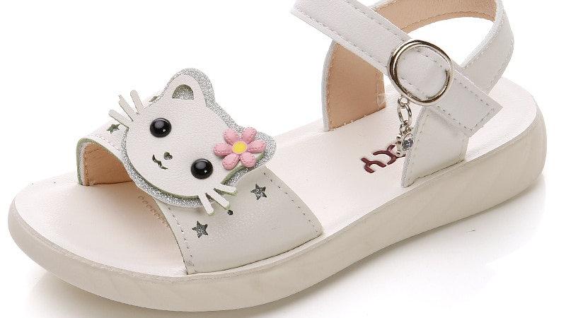 Kids Cat Print Summer Sandals