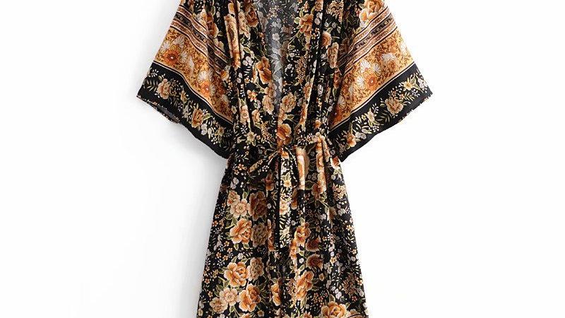 Floral Print Vintage Kimono Dress