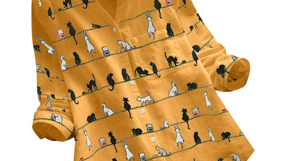 Stylish Women's Cat Print Blouse