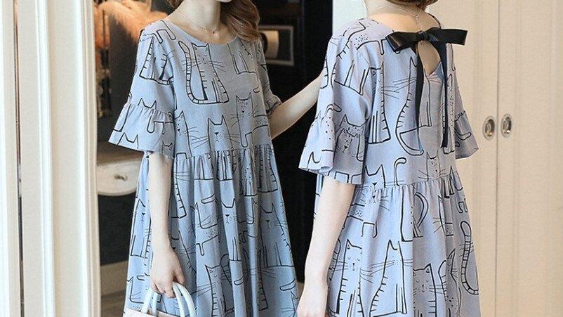 Kitty Print Maternity Dress