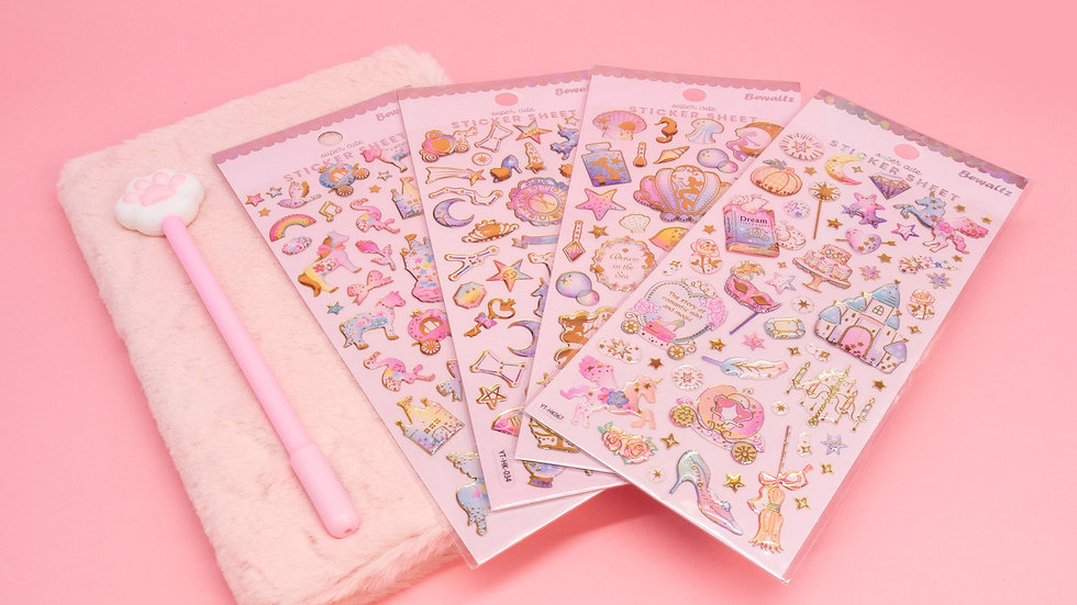 Pink Furry Notebook, Cat Paw Pen and Sticker Set