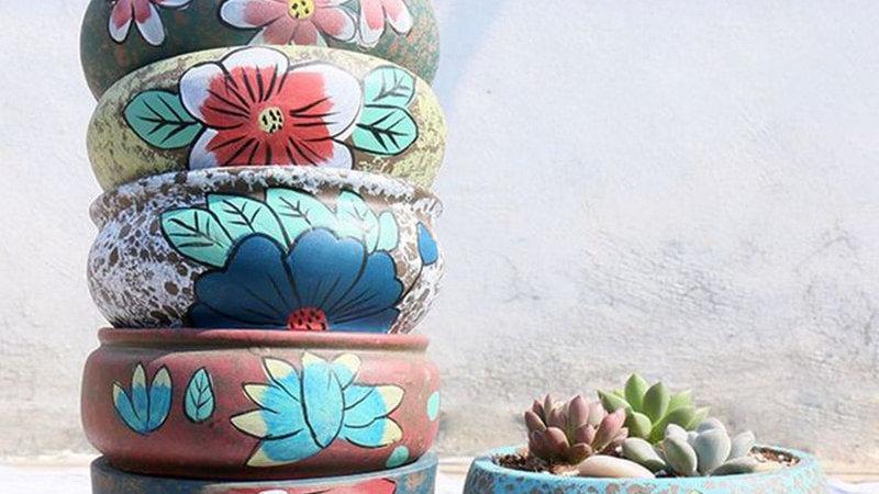 Retro Floral Plant Pot