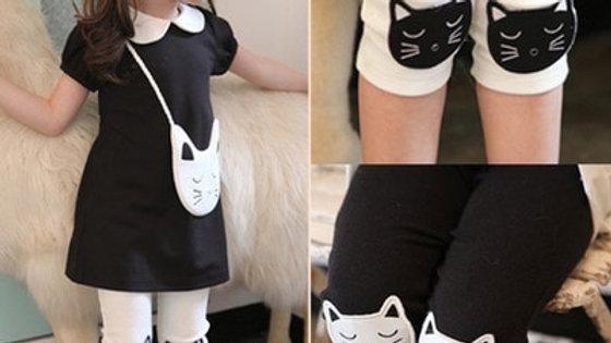 Knee Length Kitty Print Leggings