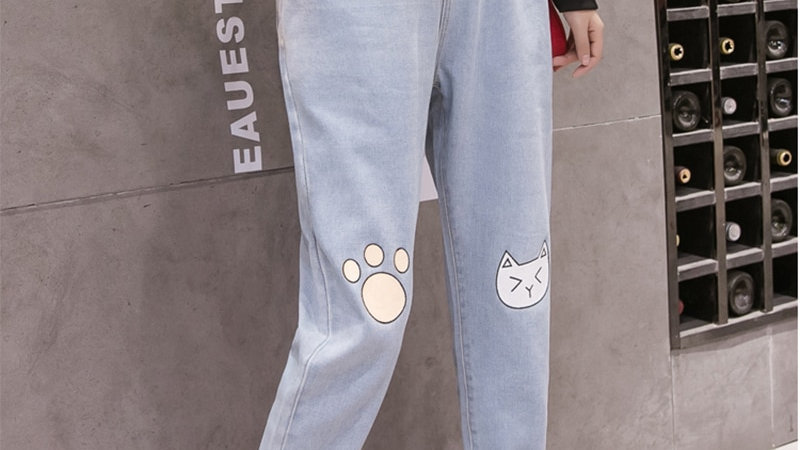 Cat Printed Cute Trousers for Women