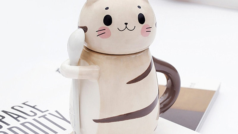 Cute Cat Mug With Spoon