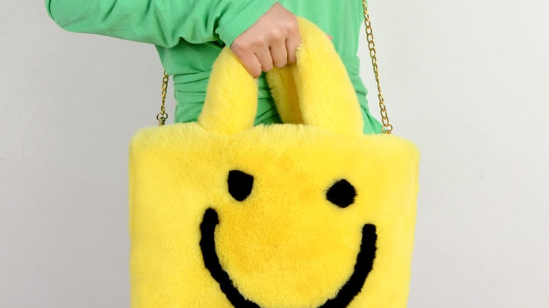 Fluffy Smiley Face Bags