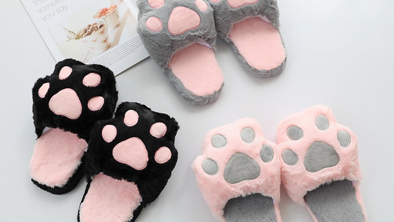 Womens Kitty Paw Slippers