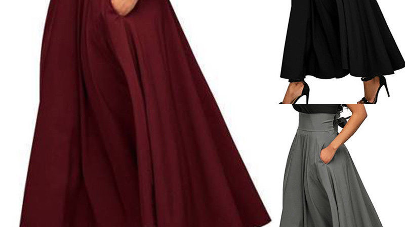 Flared Maxi Skirt with Pockets