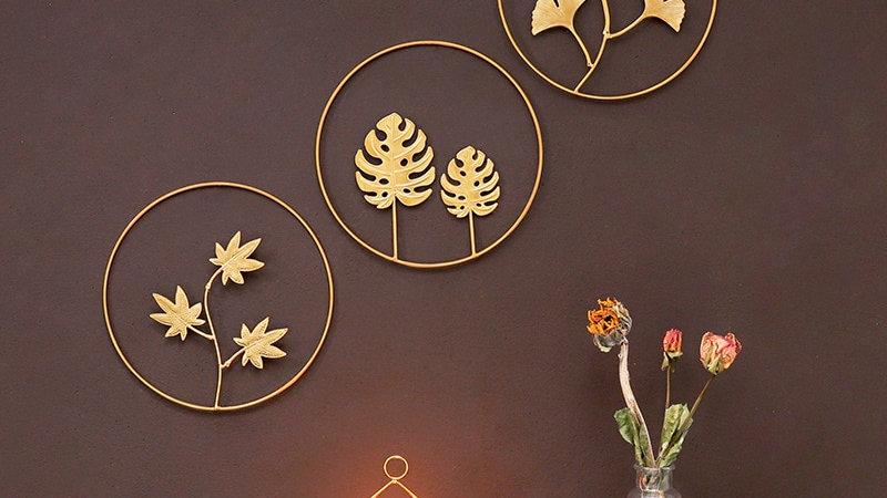 Gold Ginkgo Leaf Wall Ornaments