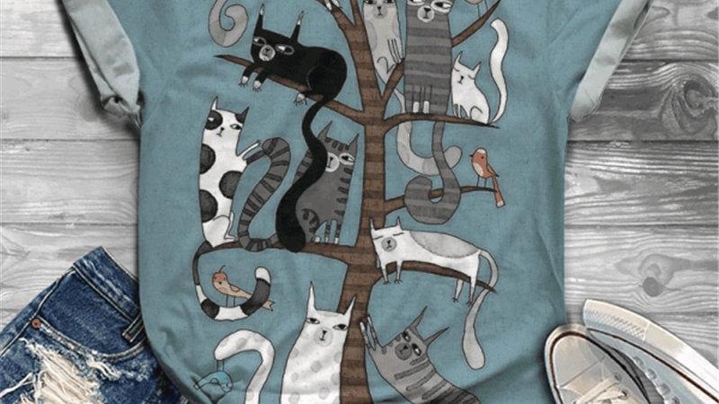 Cat Print Short Sleeve T-Shirt