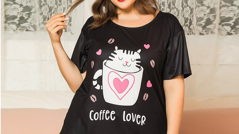 Plus Size Cute Kitty Sleepwear