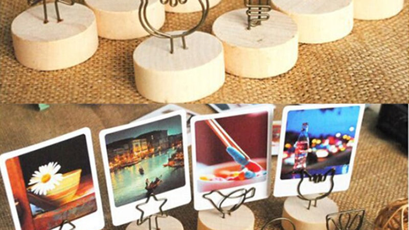 4CM Wood and Iron Table-top Photo Clips