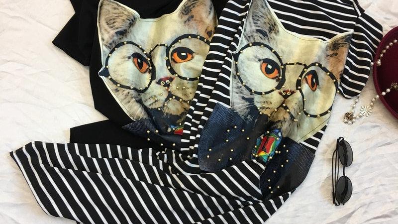 Cute Cat Print Long Striped Dress