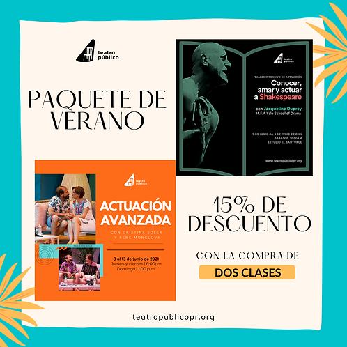 Paquete de verano: Actuación Avanzada + Shakespeare | (27 horas)