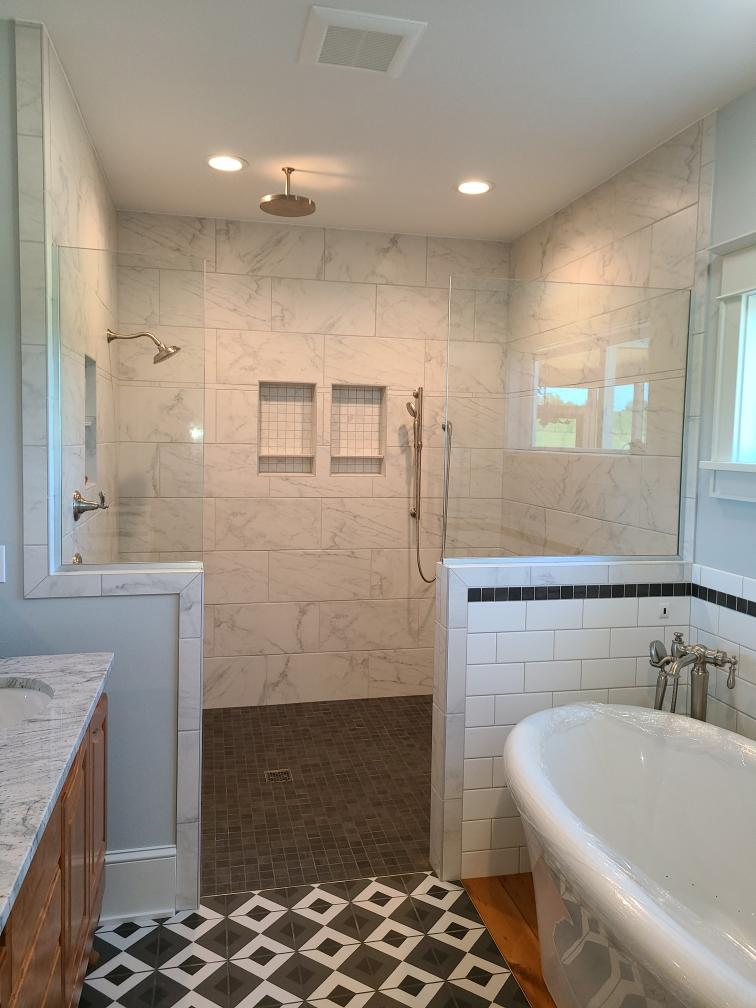 Walk-in Shower with Glass Side Panels