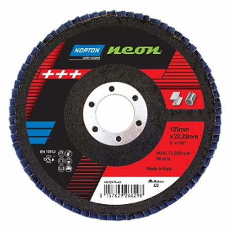 Norton Neon Flap Discs 115 x 22mm (40, 60, 80 & 120 Grit)