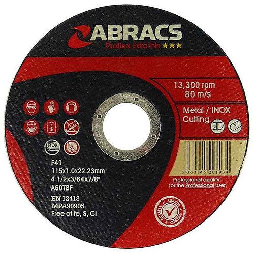 Proflex Extra Thin Flat INOX Cutting Discs 115mm x1.0mm x 22mm