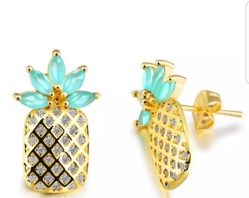 c7de3bfe866b40 Simple, chic and oh so elegant pineapple earings. These are 18K gold and  come 3 colors: Turquoise blue, green and black. It will litteraly be your  favorite ...