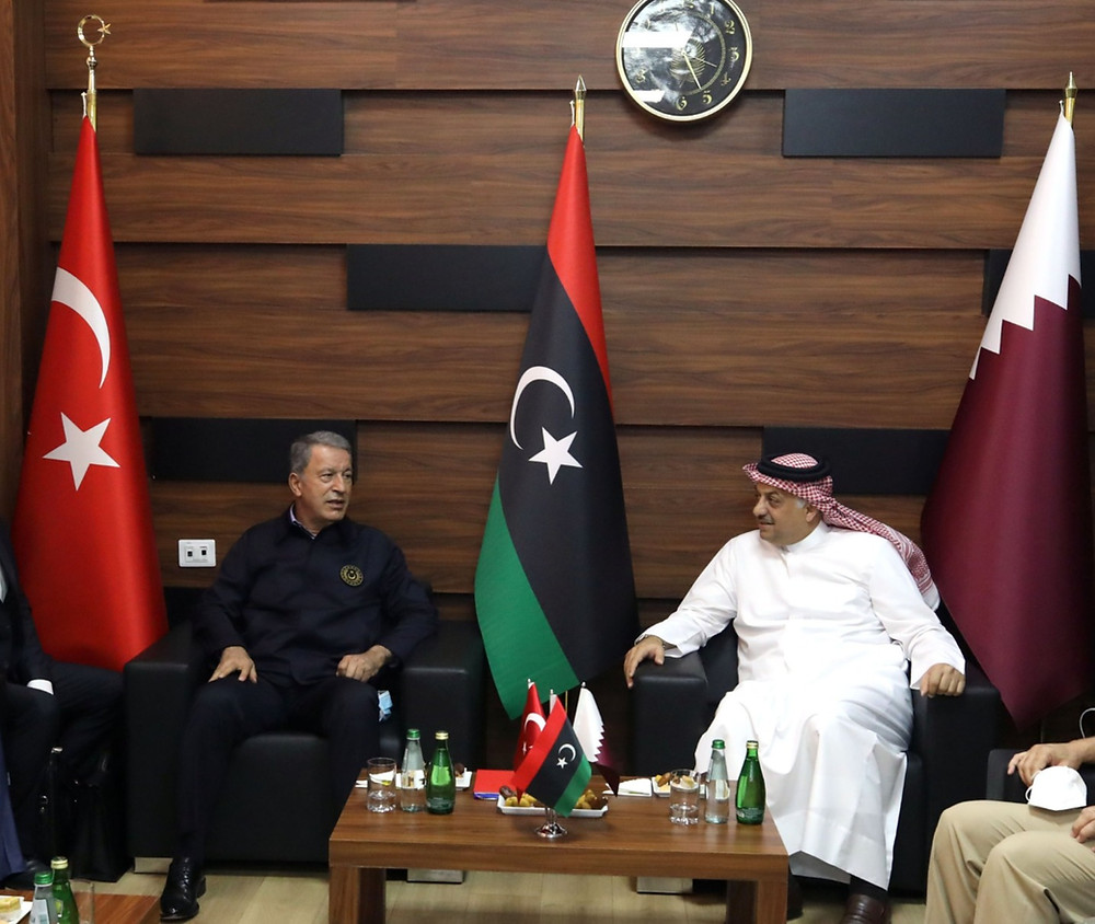 Turkish Minister of Defense, Hulusi Akar and Qatar Minister of Defense in Libya