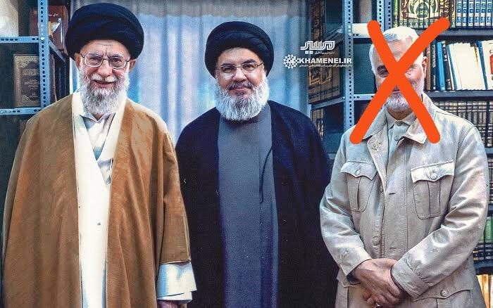 Qassem Sulimani with Hassan Nasrallah and Khameni