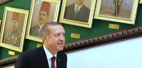Turkish president Erdogan during his visit to the Ministry of Defense in Cairo in September 2011