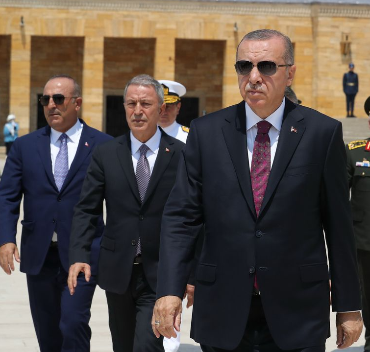 Turkey's Erdogan, Hulusi Akar, and Cavusoglu