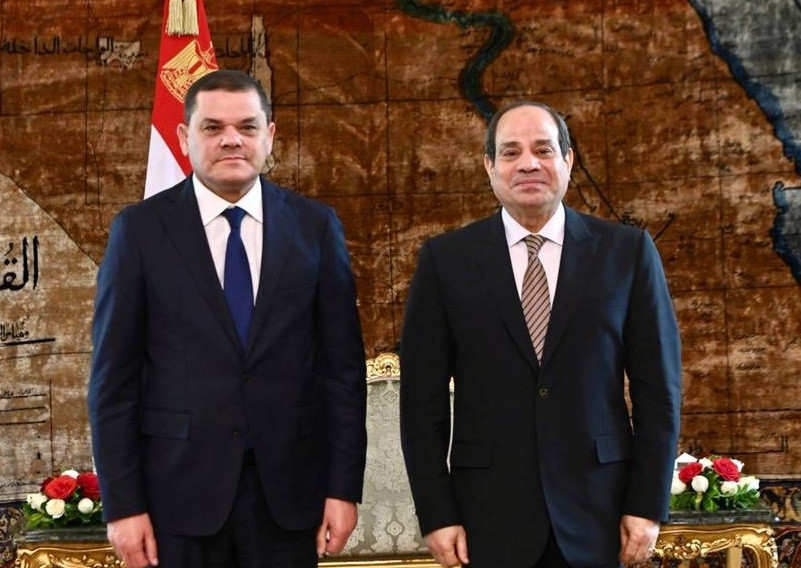 Egypt President Al-Sisi and Libya Prime Minister Dbeibeh