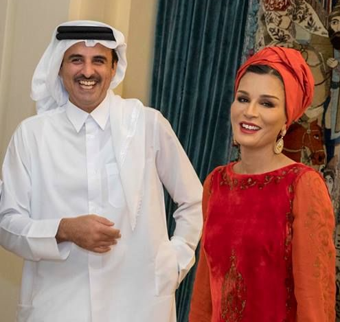 Prince Tamim with his mother Sheikha Mozah