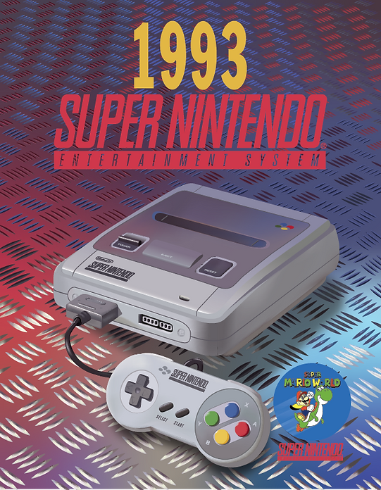 Vector Re-creation of an old SuperNintendo ad using various tools in Adobe Illustrator