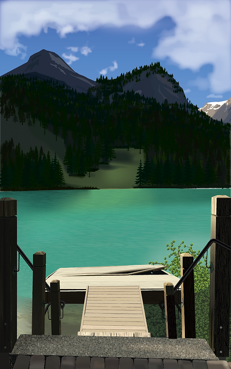 Landscape of Emerald Lake, BC created with Adobe Illustrator
