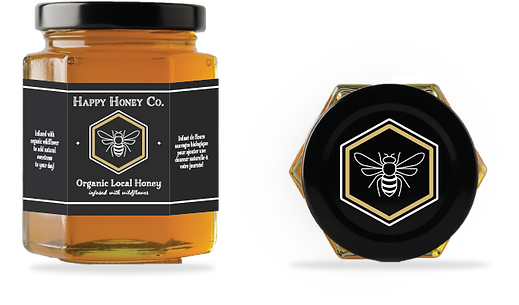 Mock up of a fictional Organic Honey Company