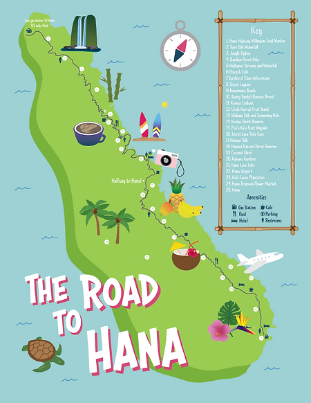 Illustrative Map of The Road To Hana in Maui, HI created in Adobe Illustrator