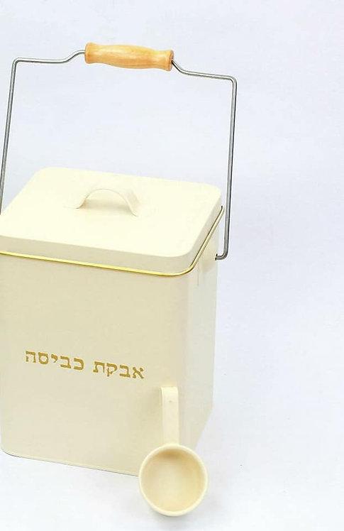 קופסה לאבקת כביסה בצבע שמנת 2 קג