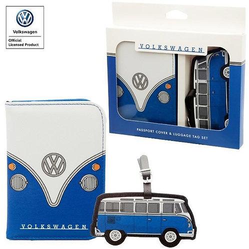 סט כיסוי דרכון ותגית שם למזוודה פולקסווגן מקורי VW Camper