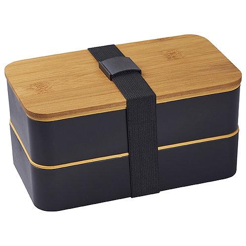 קופסאת אוכל כפולה עם מכסה במבוק ומגש סכום