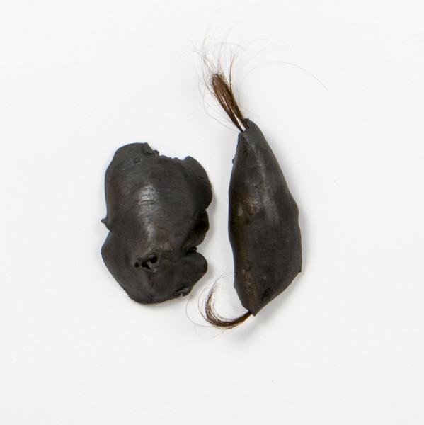 2015 ensemble de 2 pièces 8x5 cm et 10x3 cm grès émail et cheveux