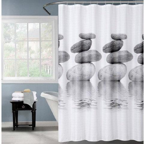 וילון אמבטיה בעיצוב חלוקי נחל