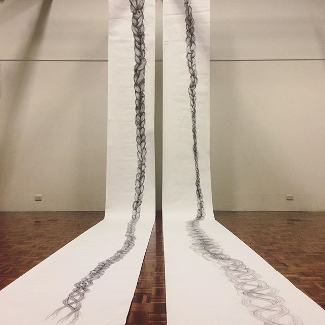 FLESH TRESSES • black pen on paper scroll • installation ideas • _qcagriffith #seemore #whiteboxgall
