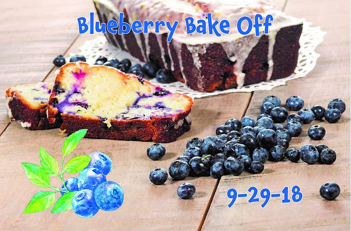 Blueberry Bakd goods, advertising the Blueberry Bake off at the Blueberry Ball on September 29th