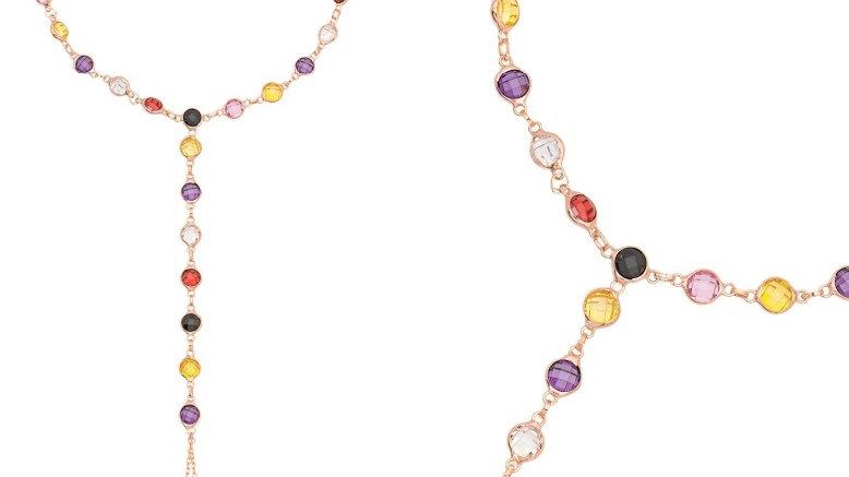 Halskette mit farbigen Steinen Rose